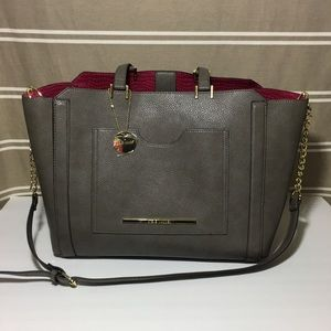 Steve Madden Large Grey Tote Purple Interior